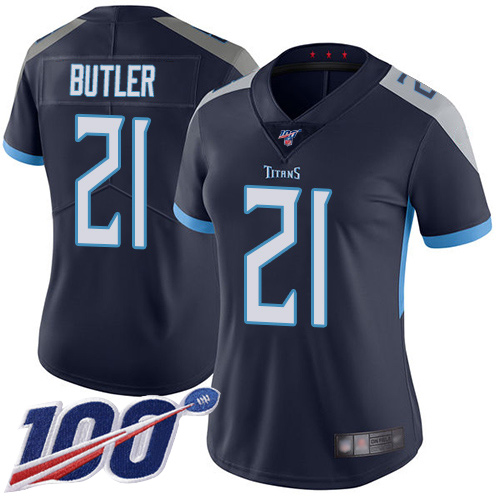 Titans #21 Malcolm Butler Navy Blue Team Color Women's Stitched Football 100th Season Vapor Limited Jersey