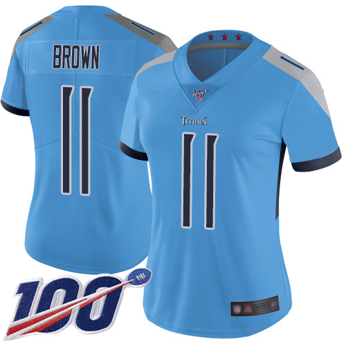 Titans #11 A.J. Brown Light Blue Alternate Women's Stitched Football 100th Season Vapor Limited Jersey