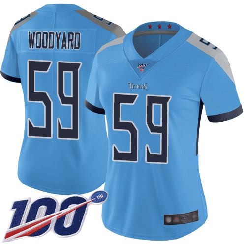 Titans #59 Wesley Woodyard Light Blue Alternate Women's Stitched Football 100th Season Vapor Limited Jersey