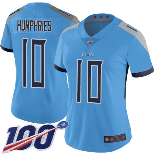 Titans #10 Adam Humphries Light Blue Alternate Women's Stitched Football 100th Season Vapor Limited Jersey