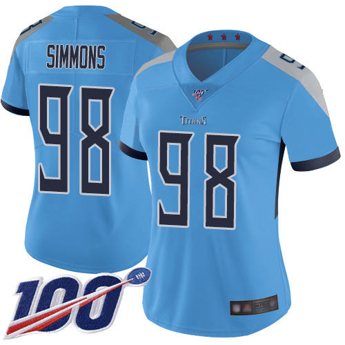 Titans #98 Jeffery Simmons Light Blue Alternate Women's Stitched Football 100th Season Vapor Limited Jersey