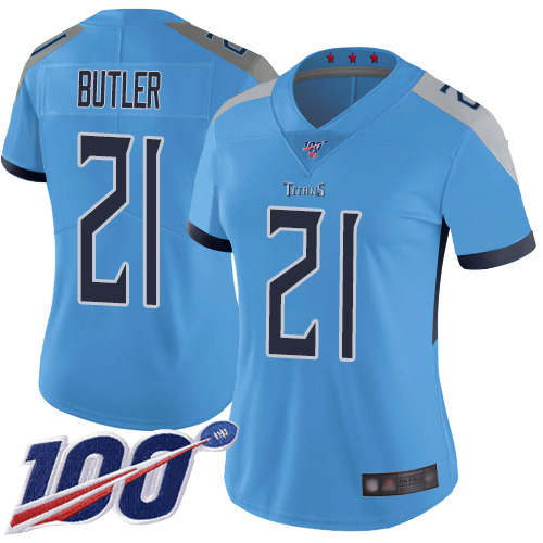 Titans #21 Malcolm Butler Light Blue Alternate Women's Stitched Football 100th Season Vapor Limited Jersey