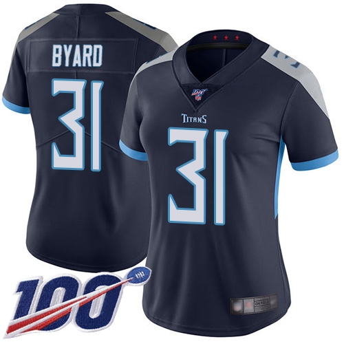 Titans #31 Kevin Byard Navy Blue Team Color Women's Stitched Football 100th Season Vapor Limited Jersey