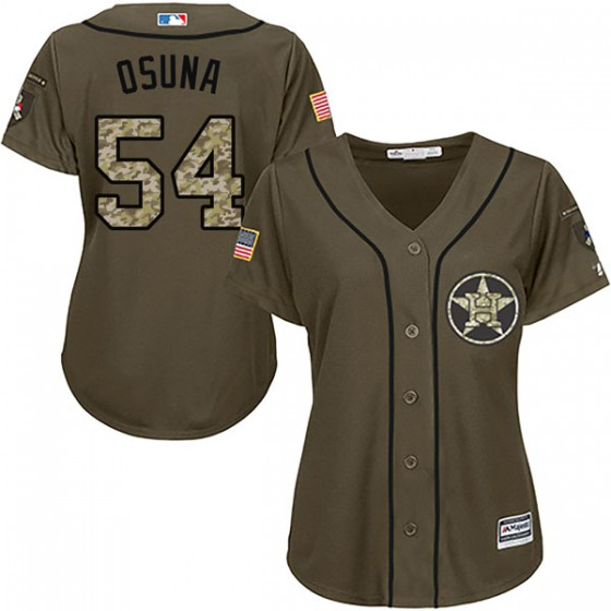 Women's Replica Houston Astros Roberto Osuna Majestic Salute to Service Green Jersey