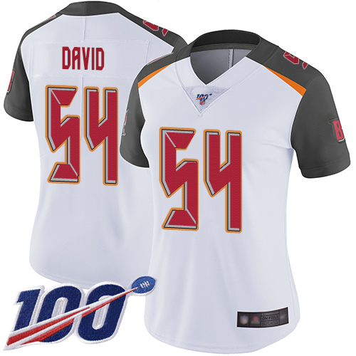Buccaneers #54 Lavonte David White Women's Stitched Football 100th Season Vapor Limited Jersey