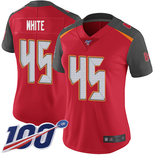 Buccaneers #45 Devin White Red Team Color Women's Stitched Football 100th Season Vapor Limited Jersey