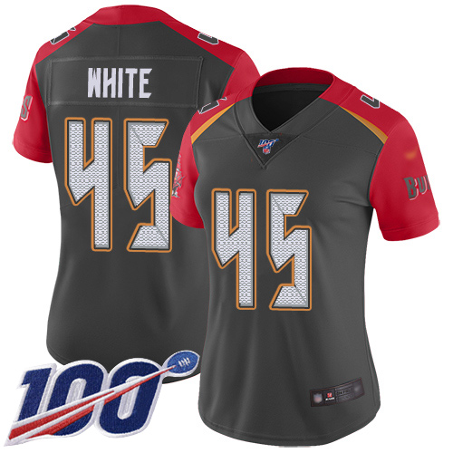 Buccaneers #45 Devin White Gray Women's Stitched Football Limited Inverted Legend 100th Season Jersey