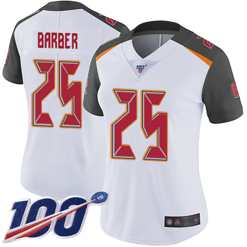 Buccaneers #25 Peyton Barber White Women's Stitched Football 100th Season Vapor Limited Jersey