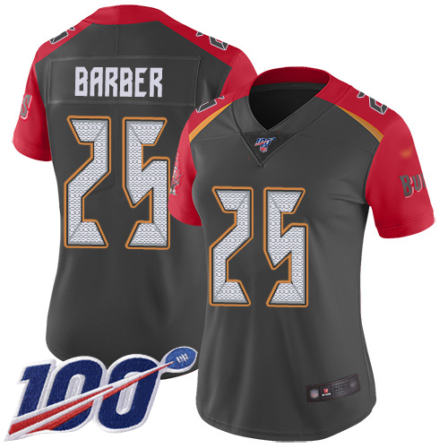 Buccaneers #25 Peyton Barber Gray Women's Stitched Football Limited Inverted Legend 100th Season Jersey
