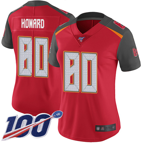 Buccaneers #80 O. J. Howard Red Team Color Women's Stitched Football 100th Season Vapor Limited Jersey