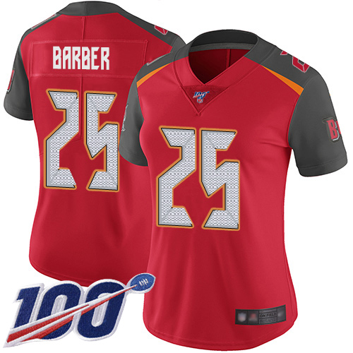 Buccaneers #25 Peyton Barber Red Team Color Women's Stitched Football 100th Season Vapor Limited Jersey