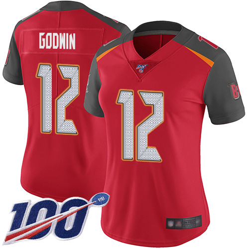 Buccaneers #12 Chris Godwin Red Team Color Women's Stitched Football 100th Season Vapor Limited Jersey