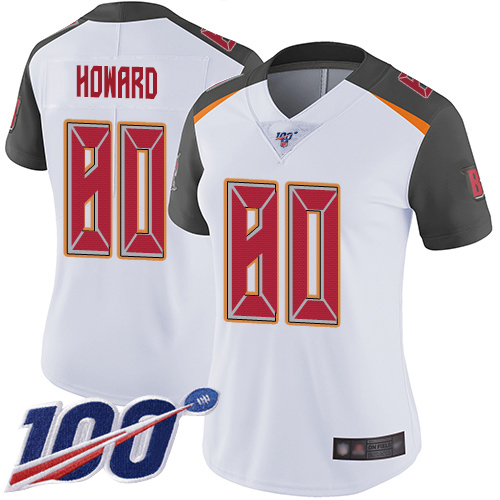Buccaneers #80 O. J. Howard White Women's Stitched Football 100th Season Vapor Limited Jersey
