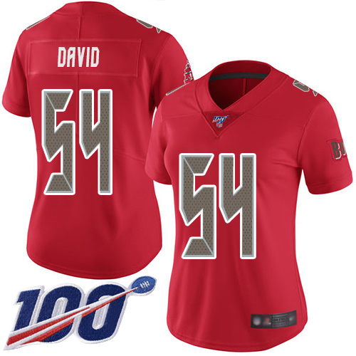 Buccaneers #54 Lavonte David Red Women's Stitched Football Limited Rush 100th Season Jersey