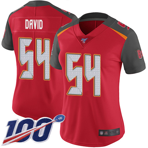 Buccaneers #54 Lavonte David Red Team Color Women's Stitched Football 100th Season Vapor Limited Jersey