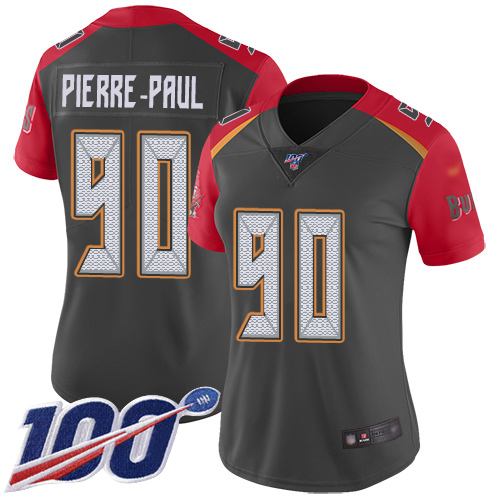 Buccaneers #90 Jason Pierre-Paul Gray Women's Stitched Football Limited Inverted Legend 100th Season Jersey