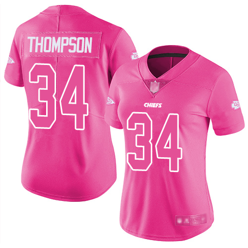 Chiefs #34 Darwin Thompson Pink Women's Stitched Football Limited Rush Fashion Jersey