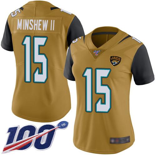 Jaguars #15 Gardner Minshew II Gold Women's Stitched Football Limited Rush 100th Season Jersey