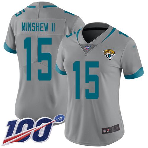 Jaguars #15 Gardner Minshew II Silver Women's Stitched Football Limited Inverted Legend 100th Season Jersey