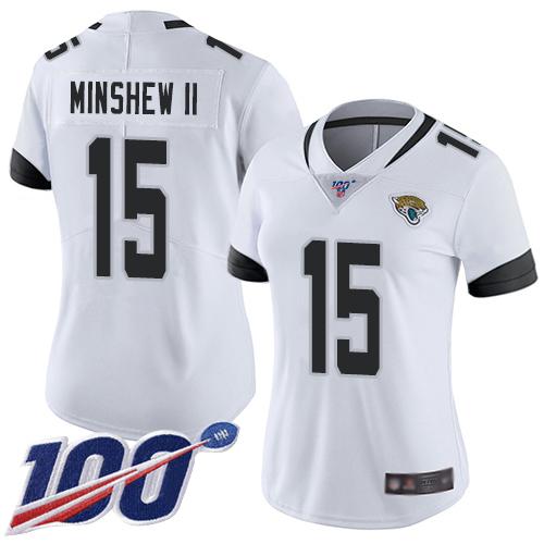 Nike Jaguars #15 Gardner Minshew II White Women's Stitched Football 100th Season Vapor Limited Jersey