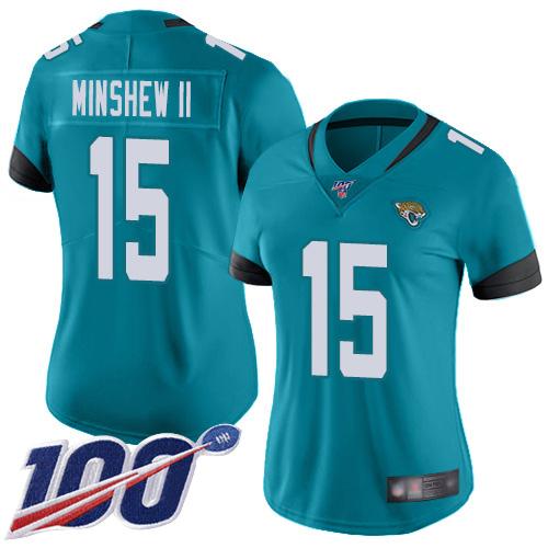 Jaguars #15 Gardner Minshew II Teal Green Alternate Women's Stitched Football 100th Season Vapor Limited Jersey