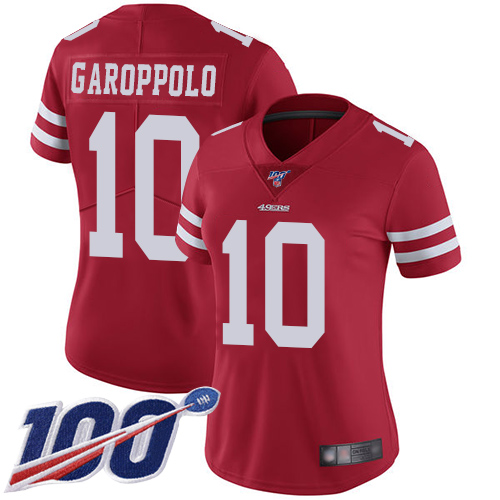 Nike 49ers #10 Jimmy Garoppolo Red Team Color Women's Stitched