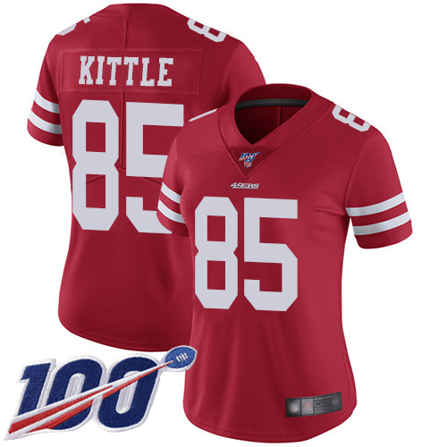 Nike 49ers #85 George Kittle Red Team Color Women's Stitched NFL