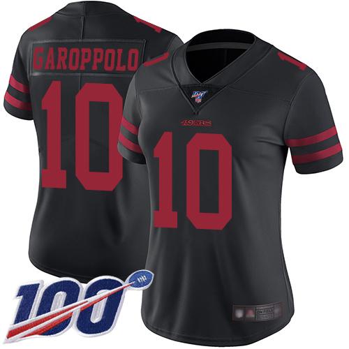 Nike 49ers #10 Jimmy Garoppolo Black Alternate Women's Stitched NFL