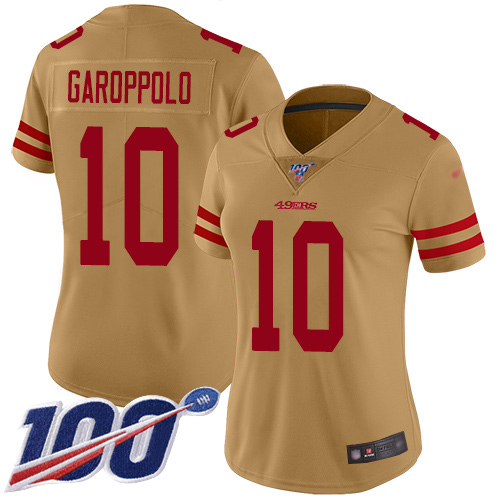 Nike 49ers #10 Jimmy Garoppolo Gold Women's Stitched NFL Limited