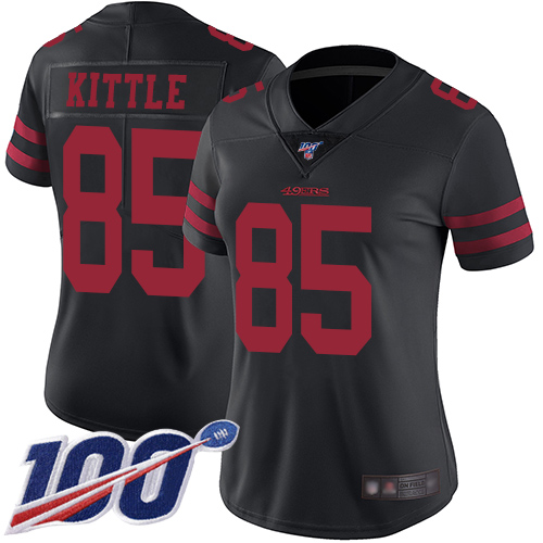 Nike 49ers #85 George Kittle Black Alternate Women's Stitched NFL