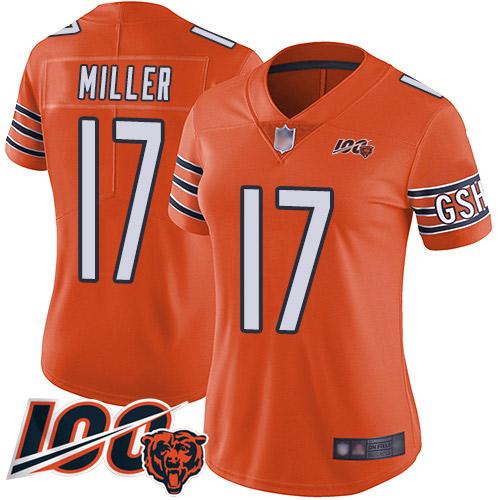 Nike Bears #17 Anthony Miller Orange Women's Stitched NFL Limited Rush