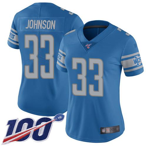 Nike Lions #33 Kerryon Johnson Blue Team Color Women's Stitched NFL