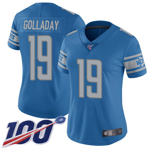 Nike Lions #19 Kenny Golladay Blue Team Color Women's Stitched NFL
