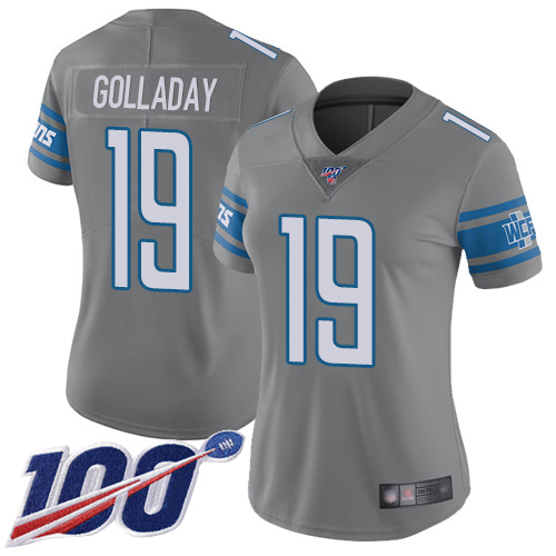 Nike Lions #19 Kenny Golladay Gray Women's Stitched NFL Limited Rush