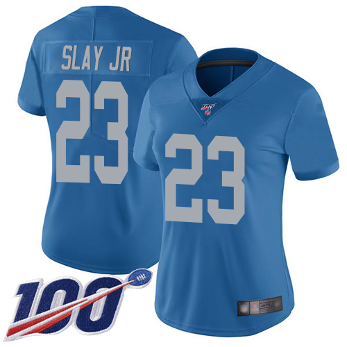 Nike Lions #23 Darius Slay Jr Blue Throwback Women's Stitched NFL