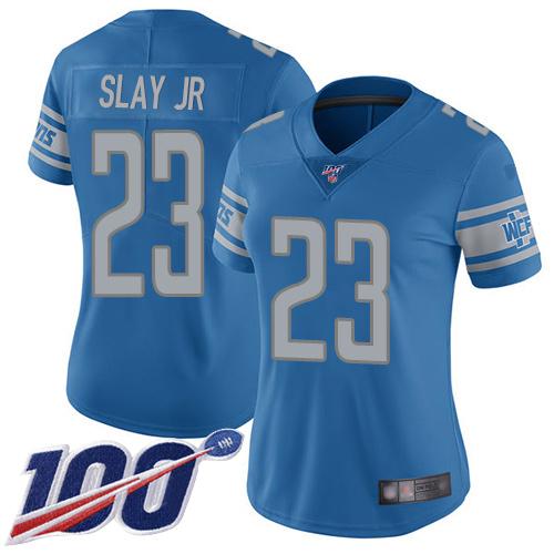 Nike Lions #23 Darius Slay Jr Blue Team Color Women's Stitched NFL
