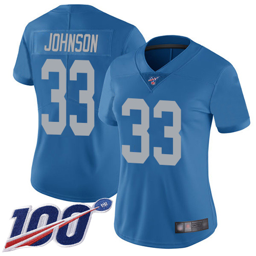 Nike Lions #33 Kerryon Johnson Blue Throwback Women's Stitched NFL