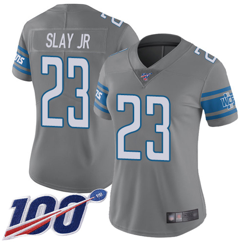 Nike Lions #23 Darius Slay Jr Gray Women's Stitched NFL Limited Rush