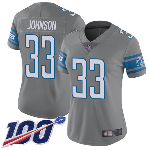 Nike Lions #33 Kerryon Johnson Gray Women's Stitched NFL Limited Rush