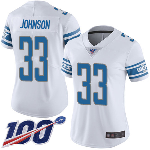 Nike Lions #33 Kerryon Johnson White Women's Stitched NFL 100th