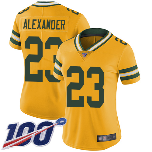 Nike Packers #23 Jaire Alexander Yellow Women's Stitched NFL