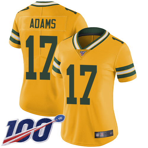 Nike Packers #17 Davante Adams Yellow Women's Stitched NFL