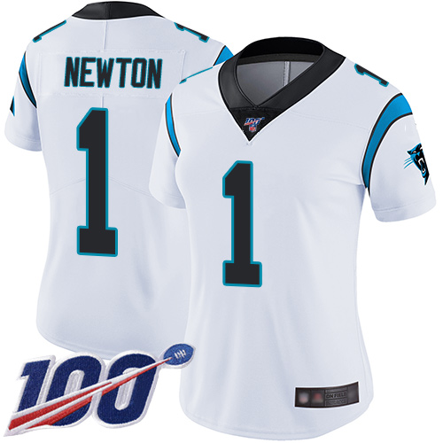 Nike Panthers #1 Cam Newton White Women's Stitched NFL 100th