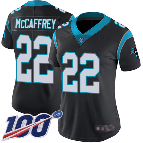 Nike Panthers #22 Christian McCaffrey Black Team Color Women's