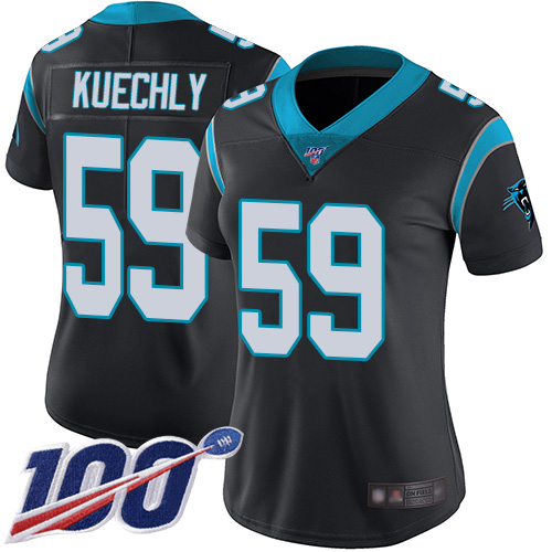 Nike Panthers #59 Luke Kuechly Black Team Color Women's Stitched NFL