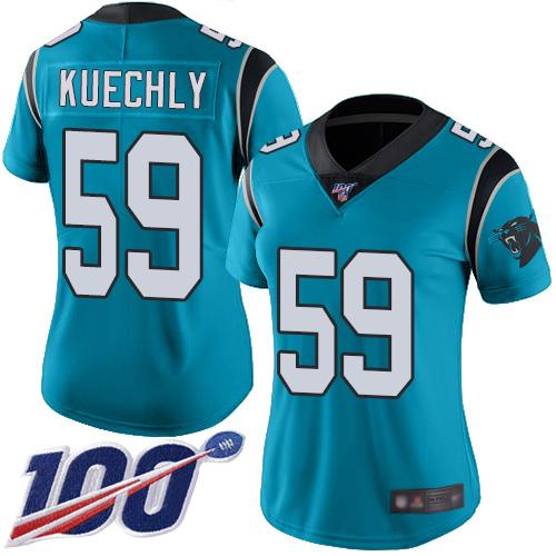 Nike Panthers #59 Luke Kuechly Blue Women's Stitched NFL Limited Rush