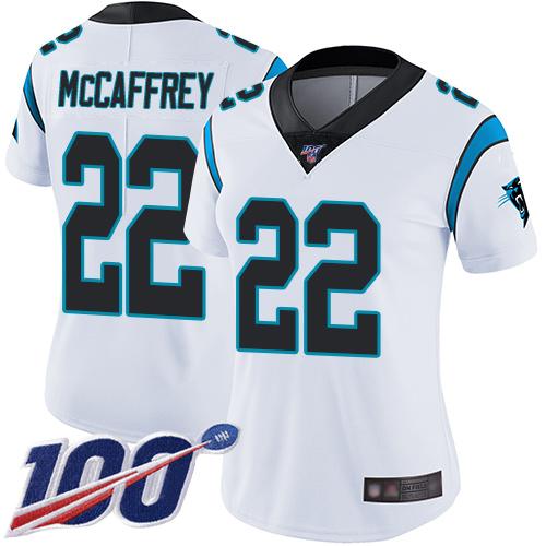 Nike Panthers #22 Christian McCaffrey White Women's Stitched NFL