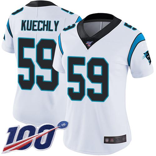 Nike Panthers #59 Luke Kuechly White Women's Stitched NFL 100th
