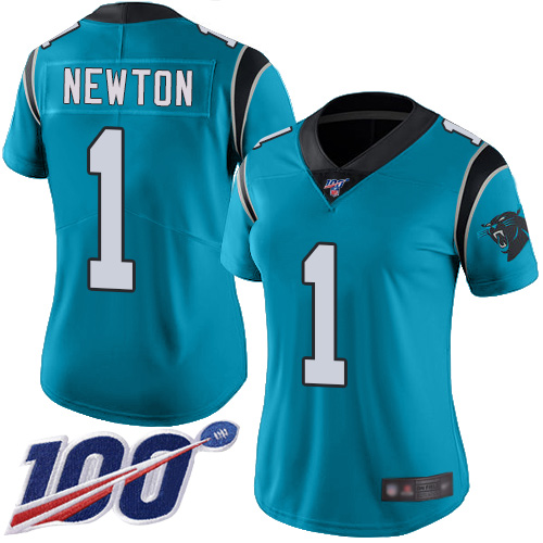 Nike Panthers #1 Cam Newton Blue Women's Stitched NFL Limited Rush