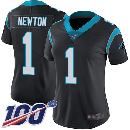 Nike Panthers #1 Cam Newton Black Team Color Women's Stitched NFL